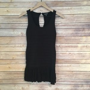 Bebe Black Mini Dress with Fringe